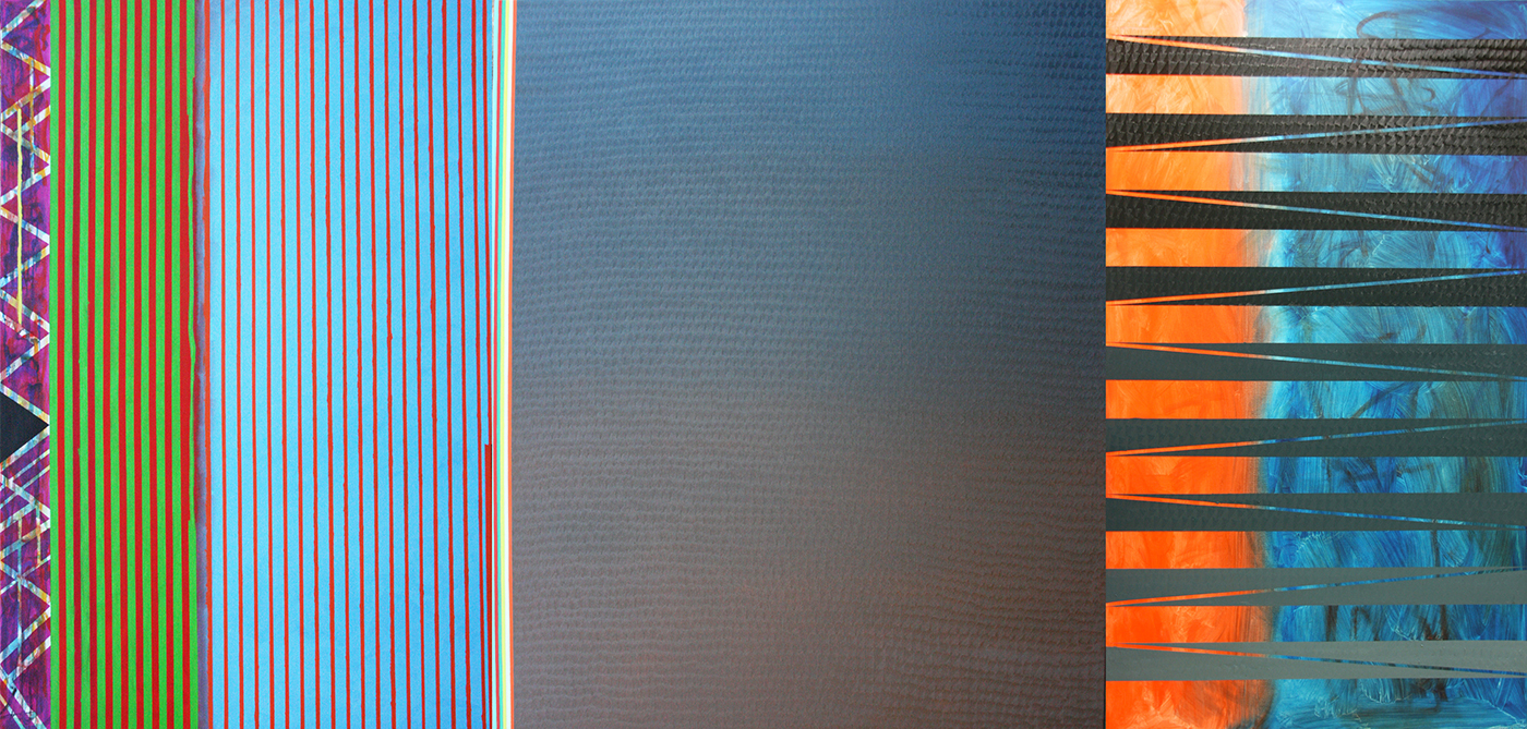 Landspace (v 27.0) review (oil on canvas, triptych 195x406cm) 2015 (private collection, USA)